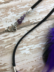 Mini Purple & Black Hanging Dream Catcher Accessory Rear View Mirror Charm With Amethyst, Purple Feathers, and Ohm Charm