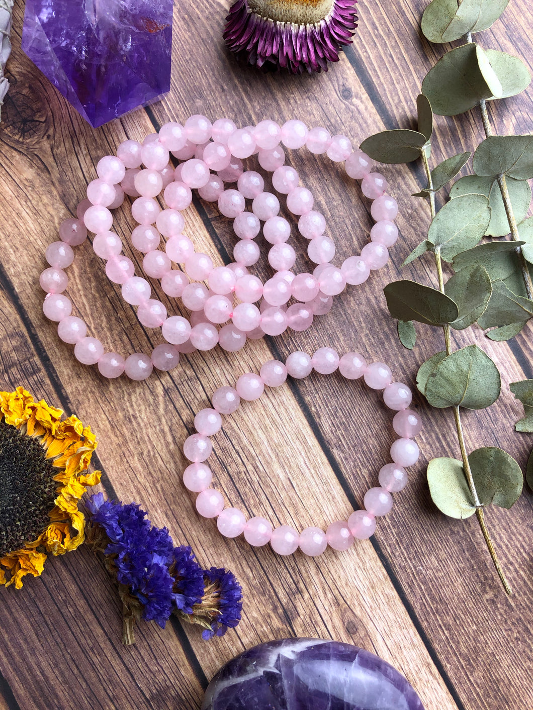 Rose Quartz Beaded Stretch Bracelet