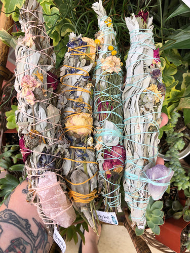 California White Sage Bundle with Flowers & Herbs