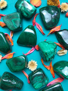 Malachite Tumbled Stone for Transformation