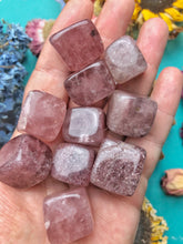 Strawberry Quartz Tumbled Cube For Strengthening Love Purpose