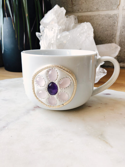 Self-Love Rose Quartz and Amethyst Crystal Mug