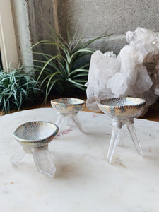 Gift Set of 3 Crystal Air Plant Clear Quartz Planters
