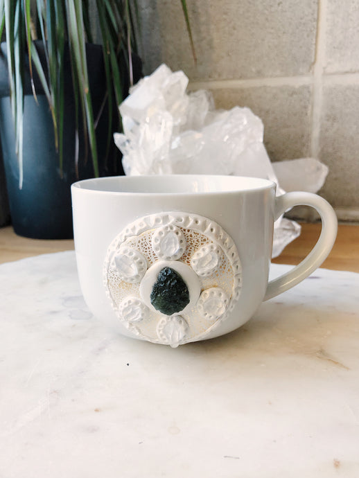 Moldavite and Herkimer Diamond Crystal Mug