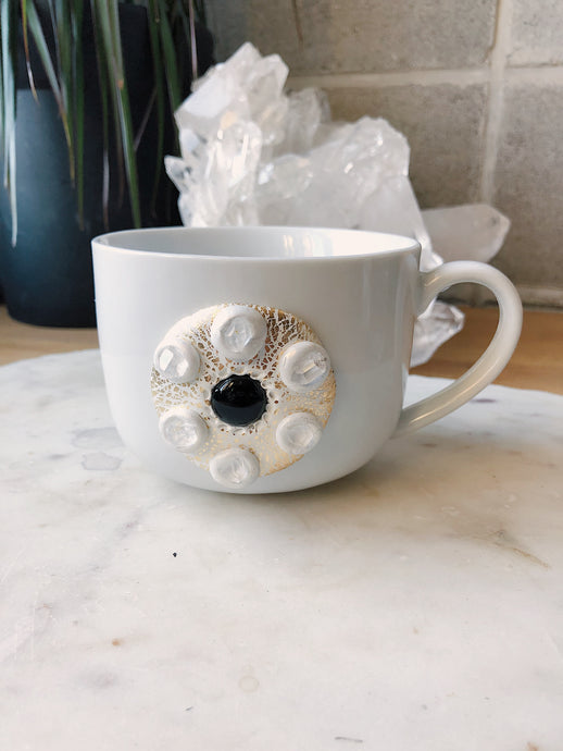 Black Onyx and Herkimer Diamond Crystal Mug