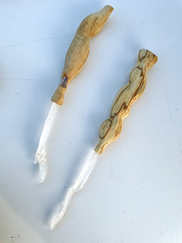 Hand Carved Palo Santo Magic Faden Quartz Wands
