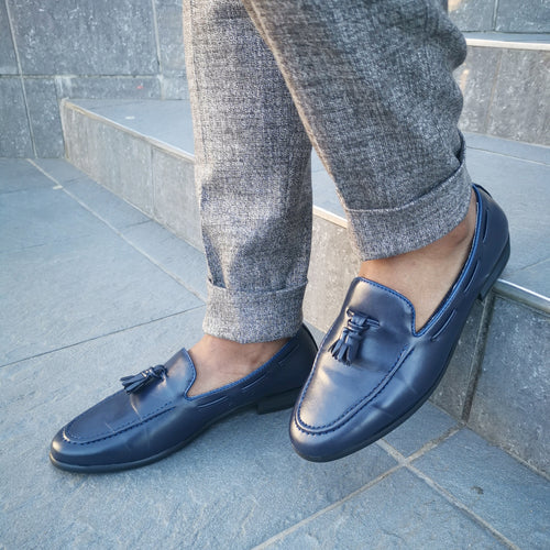 Navy Leather Loafer - TheModernMan