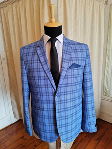 Sky Blue Checked Coat