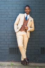 Load image into Gallery viewer, Cream and Rusty Brown Pinstripe 3 piece - TheModernMan