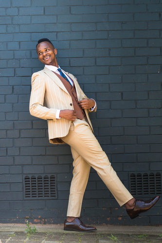 Cream and Rusty Brown Pinstripe 3 piece - TheModernMan
