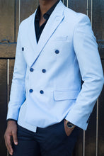 Load image into Gallery viewer, Double Breasted Powder Blue Coat - TheModernMan