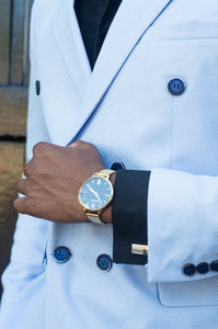 Double Breasted Powder Blue Coat - TheModernMan