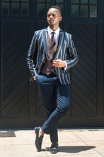 Load image into Gallery viewer, Navy and Brown Pinstripe 3 piece Suit - TheModernMan