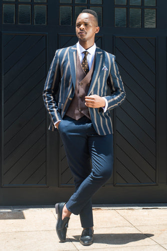 Navy and Brown Pinstripe 3 piece Suit - TheModernMan
