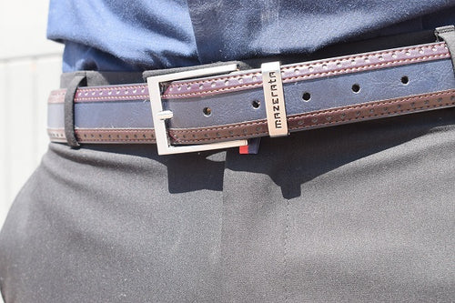 Navy Choc Leather Belt - TheModernMan