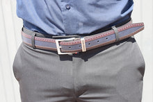 Load image into Gallery viewer, Navy Choc Leather Belt - TheModernMan