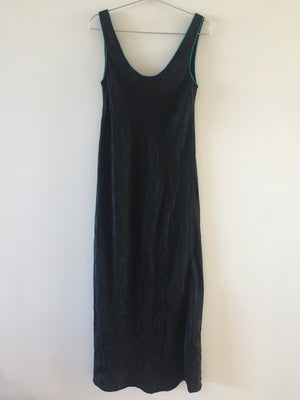 Vintage Black Fernando Sanette Pattern Blue Details Sleeveless long Dress M
