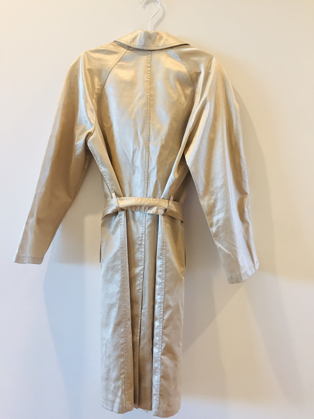 Prada Vintage Shiny Champagne Off White Cotton Silk Belt Rain Coat Jacket Trench Made in Italy 42 SM