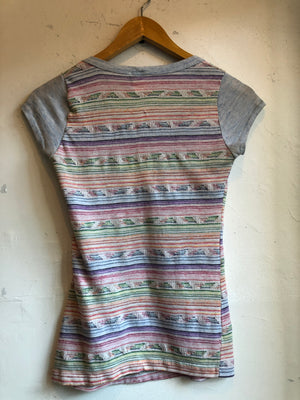 Shirtery Vintage Loose striped blue colored rainbow very soft loose neck small pocket short sleeve tshirt Made in USA M