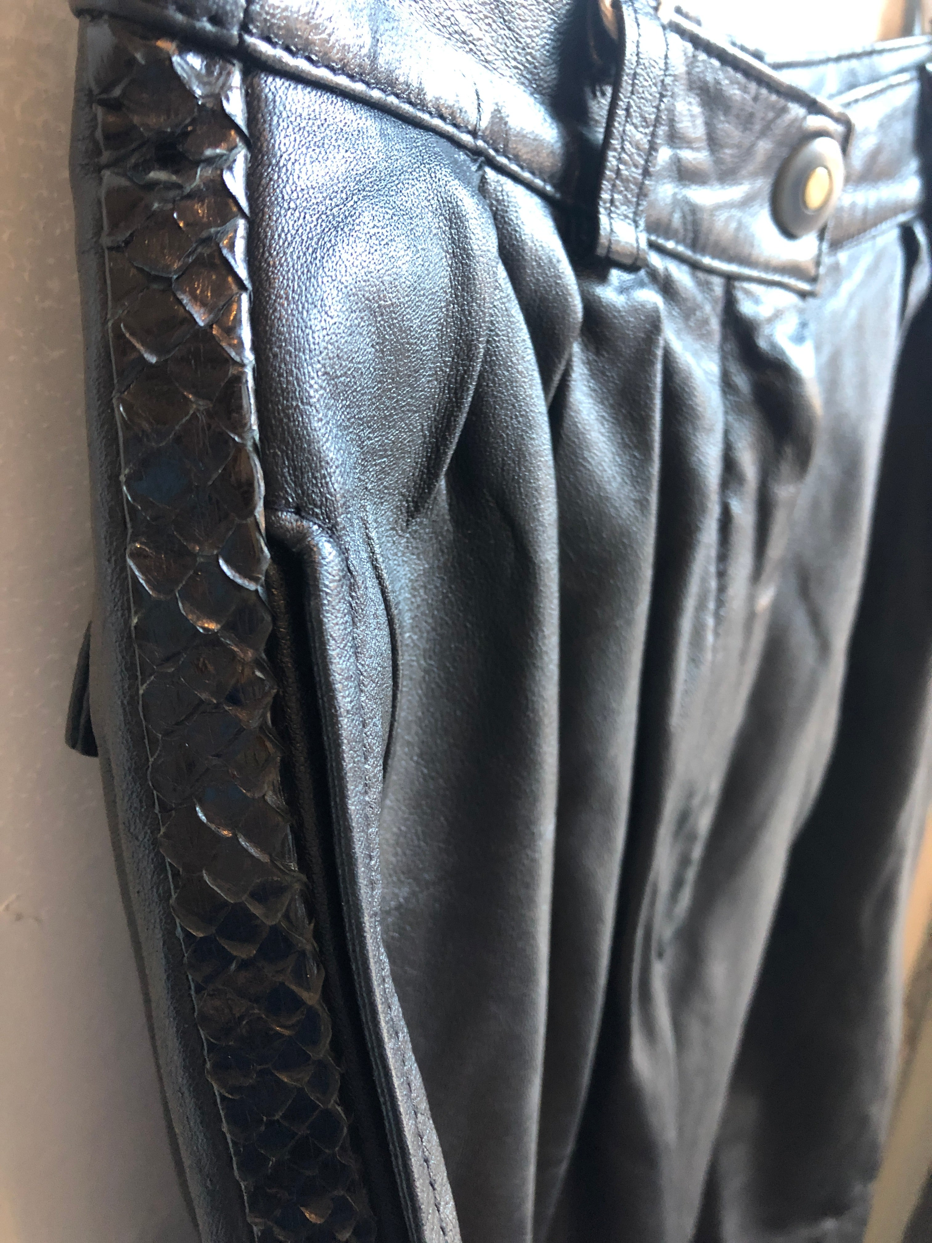Karen by Anette & Mika Black Baggie Vintage Snakeskin Detail on the side Leather Pants 8