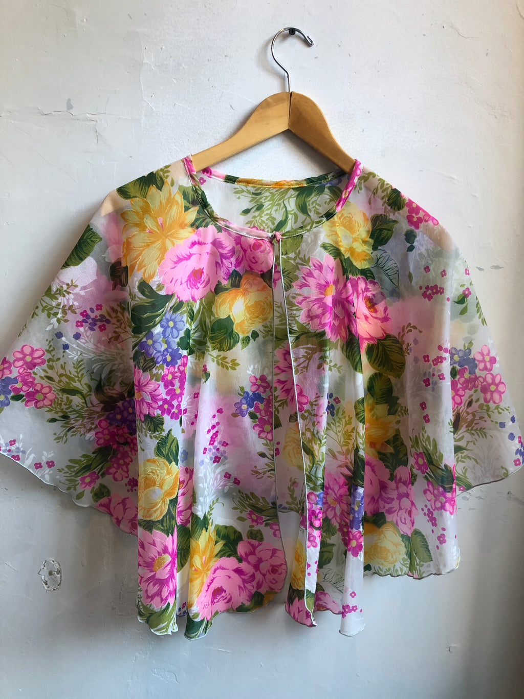 60's Vintage Crop Cape Sheer Lightweight Floral Pink Green All sizes