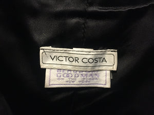 Victor Costa for Bergdorf Goodman Vintage Velvet Taffeta Black Bow Plaid Short Gown Dress 8 S