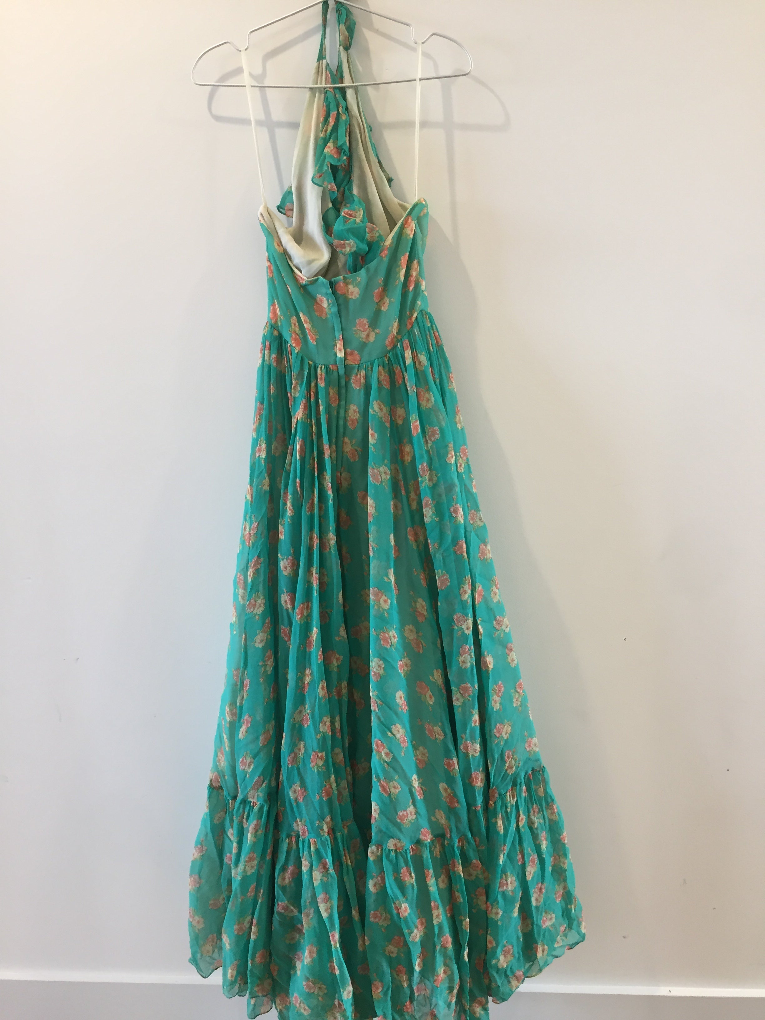 Vintage Denise Green Flower Pleated Flowy Ruffle Top Sexy Open Shoulder Long Dress Gown XS
