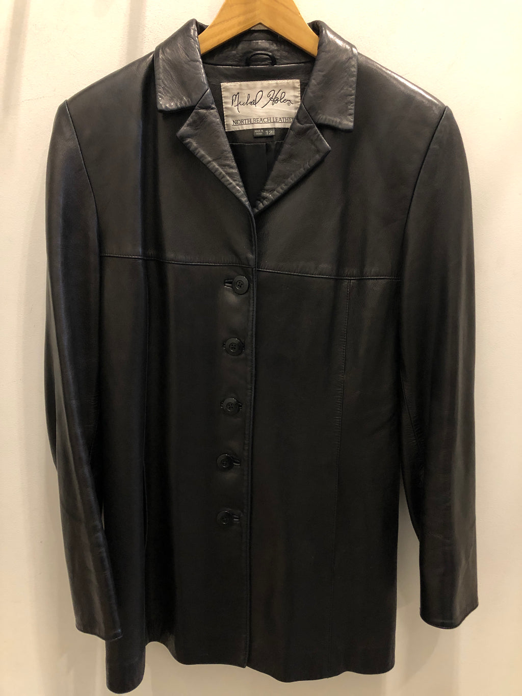 Michael Holem North Beach Black Soft Leather Long Button Up Collar Suit Trendy Unisex Jacket 12 M L