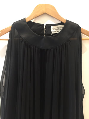 Martin Margiela Maison Original Black Chiffon Silk Gown Cape Dress Unisex