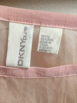 DKNY Pure Vintage Baby Millennial Pink Sheer Romantic Silk Set Top Skirt Ruffle M