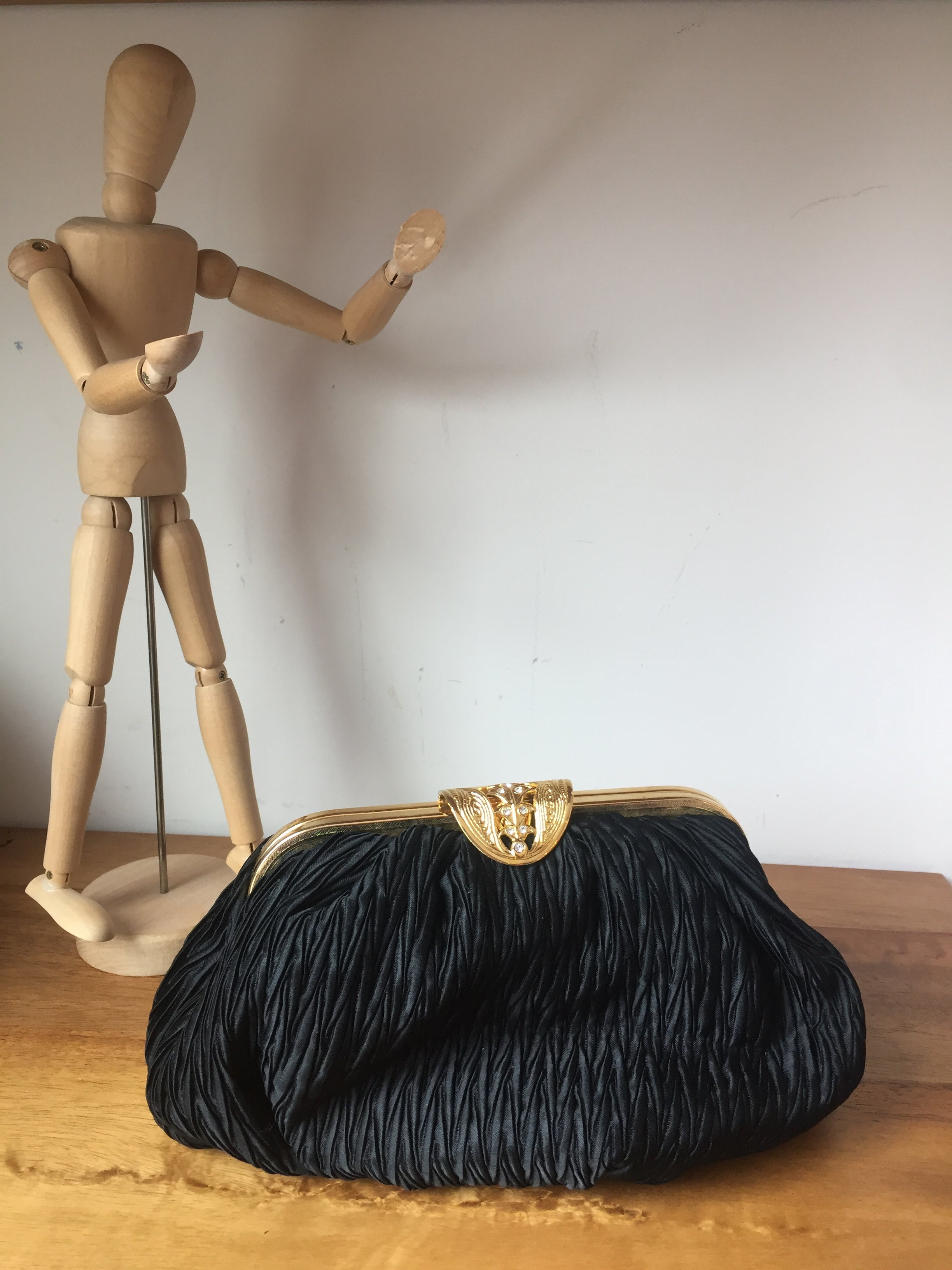 Lord & Taylor Vintage Black Pleated Golden Metal Rhinestone Details Chain String Party Clutch Shoulder Bag
