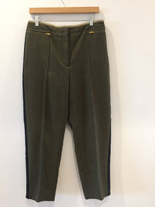 Celine Army Green Black High Waisted Wool Trousers NWT 44