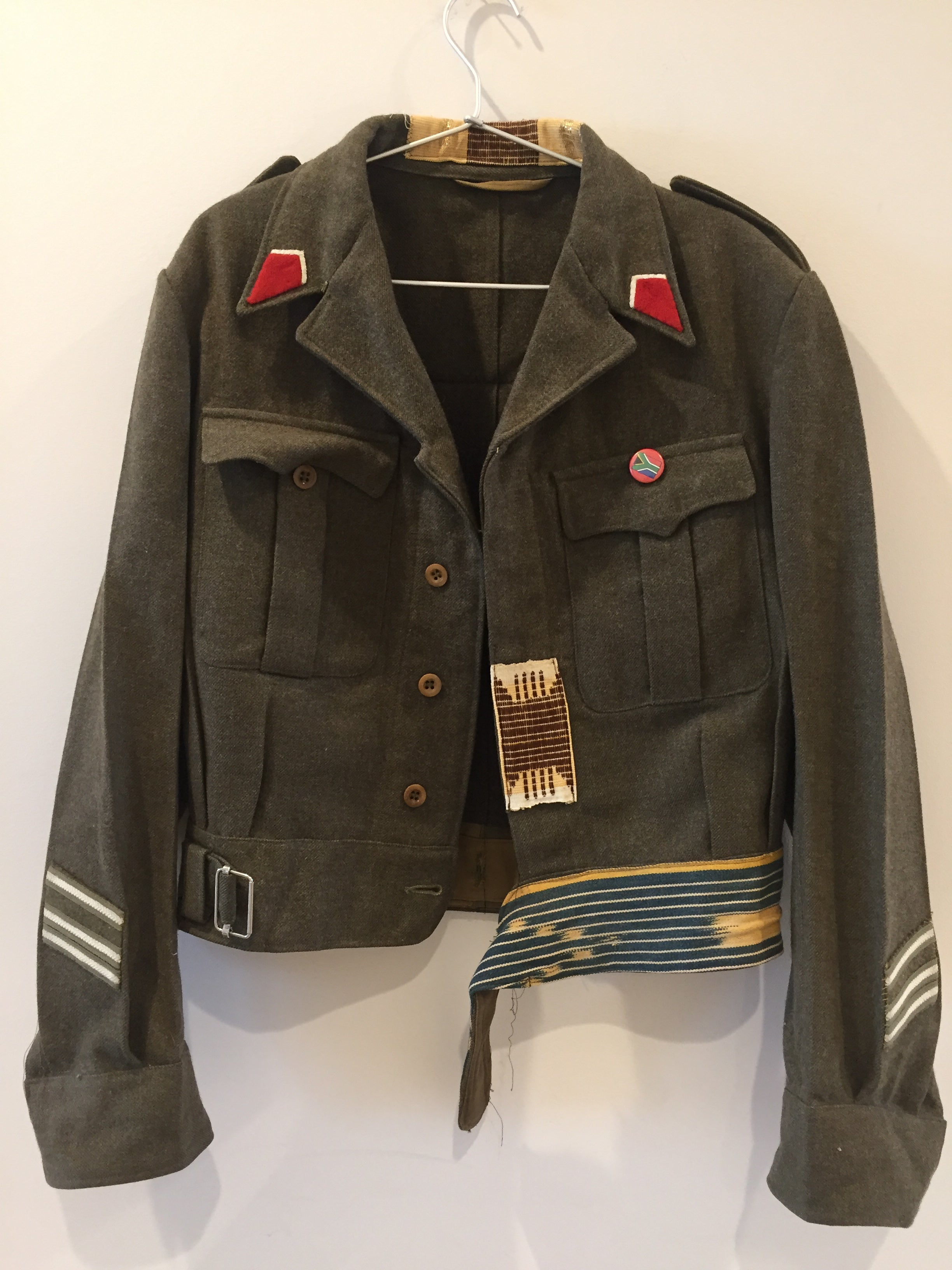 Vintage Original South Africa Army Green Heavy Wool w/ patches Jacket Unisex M
