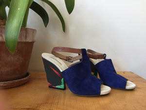Dries Van Noten Royal Blue Leather Suede Floral Pattern heels Brown Strap Ankle High heels Sandals Summer Made in Italy 38 1/2