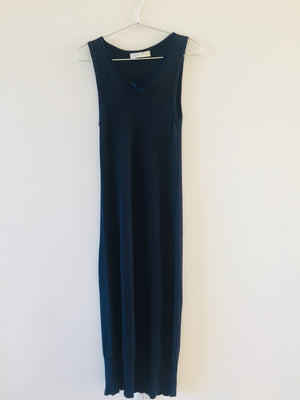 Miu Miu Vintage Stretchy Very Comfortable Cotton Knit Dark Blue Velvet Ribbon Sleeveless Long Dress Made in Italy 42 S M