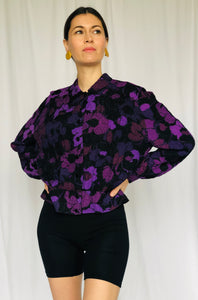 Valentino Vintage Puckered Silk Soft Top Blouse Purple Floral Jacket S
