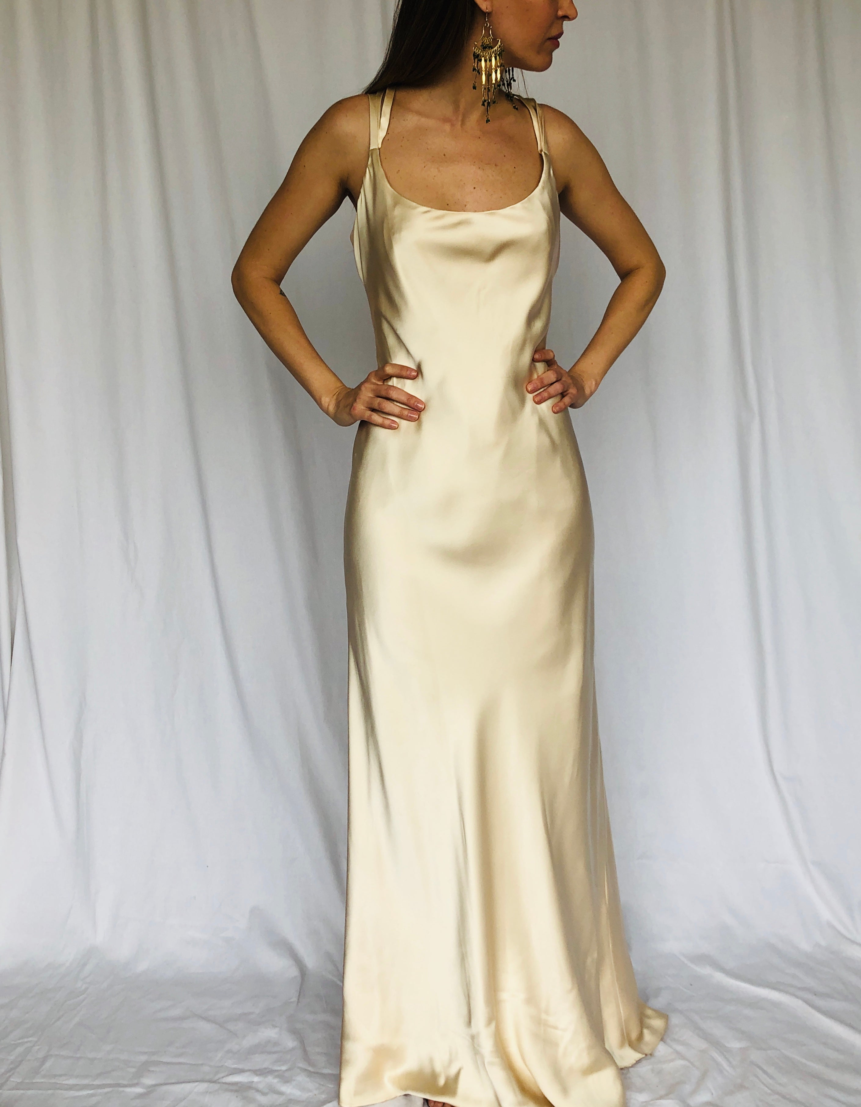 Vintage Saks Fifth Avenue Travilla Off White Cream Silk Slip Maxi Dress Wedding Gown S 6