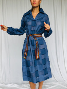 Patchwork Chambray Hippie Vicky Vaughn Cotton Blue Long Sleeve Colar Belt Dress S