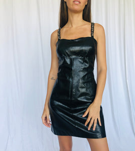 Vintage Paco Rabanne Strap Chain Metal Leather Black Short Dress 12 M