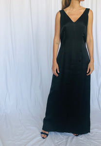 Dries Van Noten Vintage 90s Rayon Long Black Minimalist Gown Dress 40 M L
