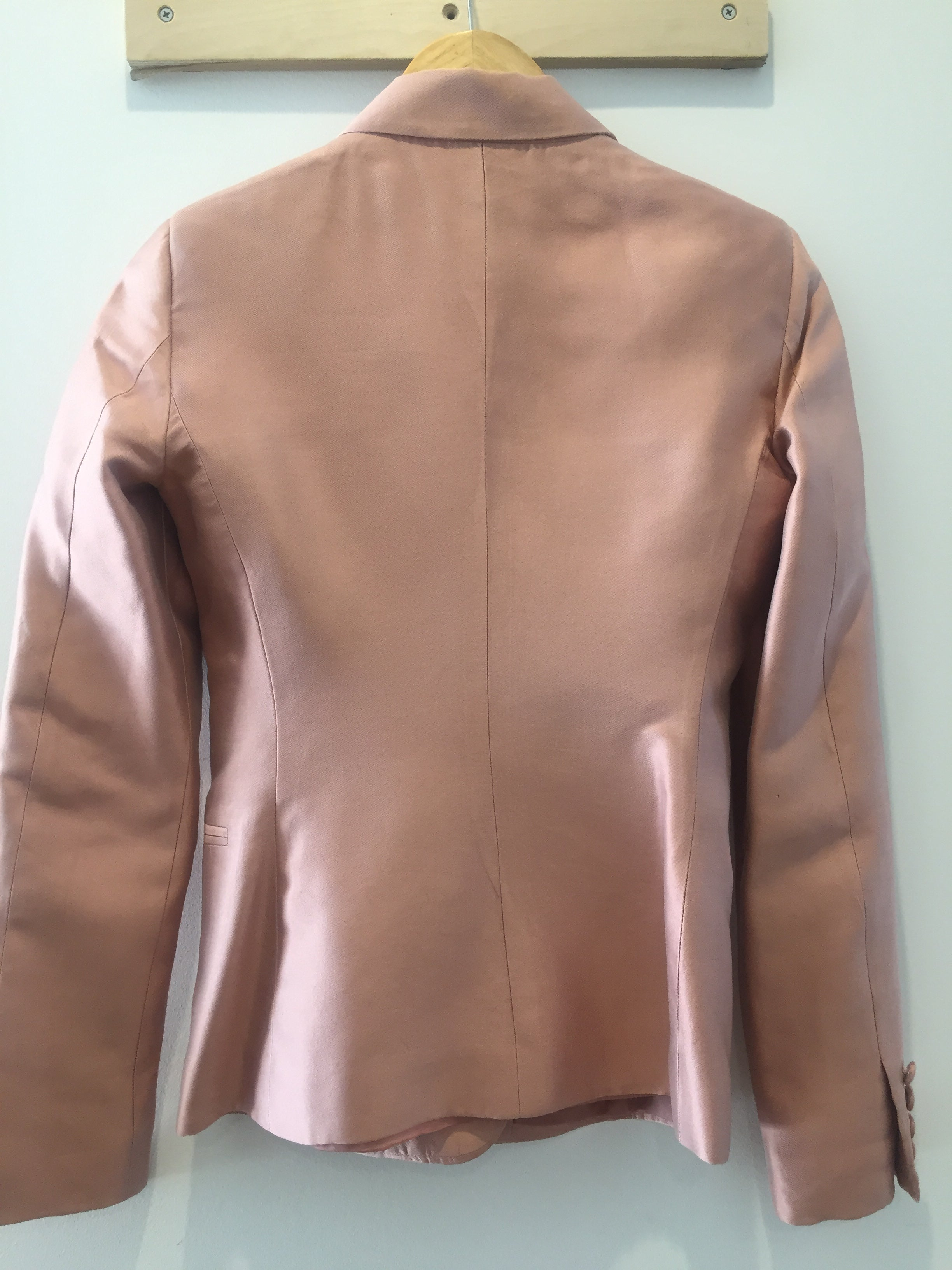 Versace Vintage Blush Rose Silk Blazer Jacket S