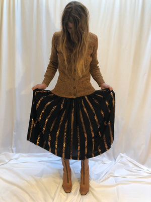 Valentino Vintage Pleated Sequin Skirt S