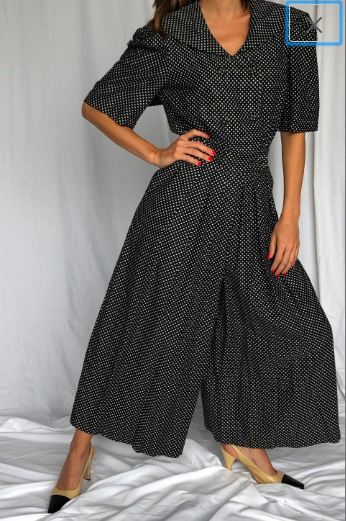 Vintage Polka Dot Cotton Sailor Wide Leg Jumpsuit Cullinane M