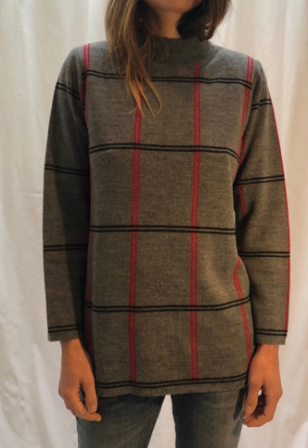 Vintage Grey red black stripes turtleneck Karen Lessly Sweater Wool S