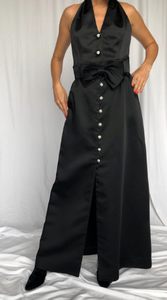 A.J. Bari Black Tie Satin Set Tall M