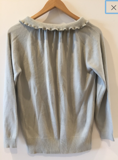 Givenchy Vintage Light Grey Sweater Wool Ruffle Detail 36 M