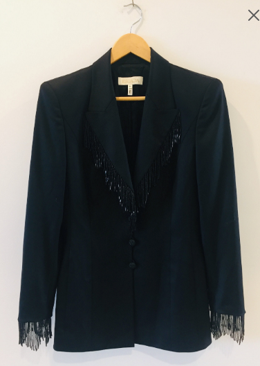 Escada Vintage Beads Fringe Black Wool Blazer Jacket Germany 38 S