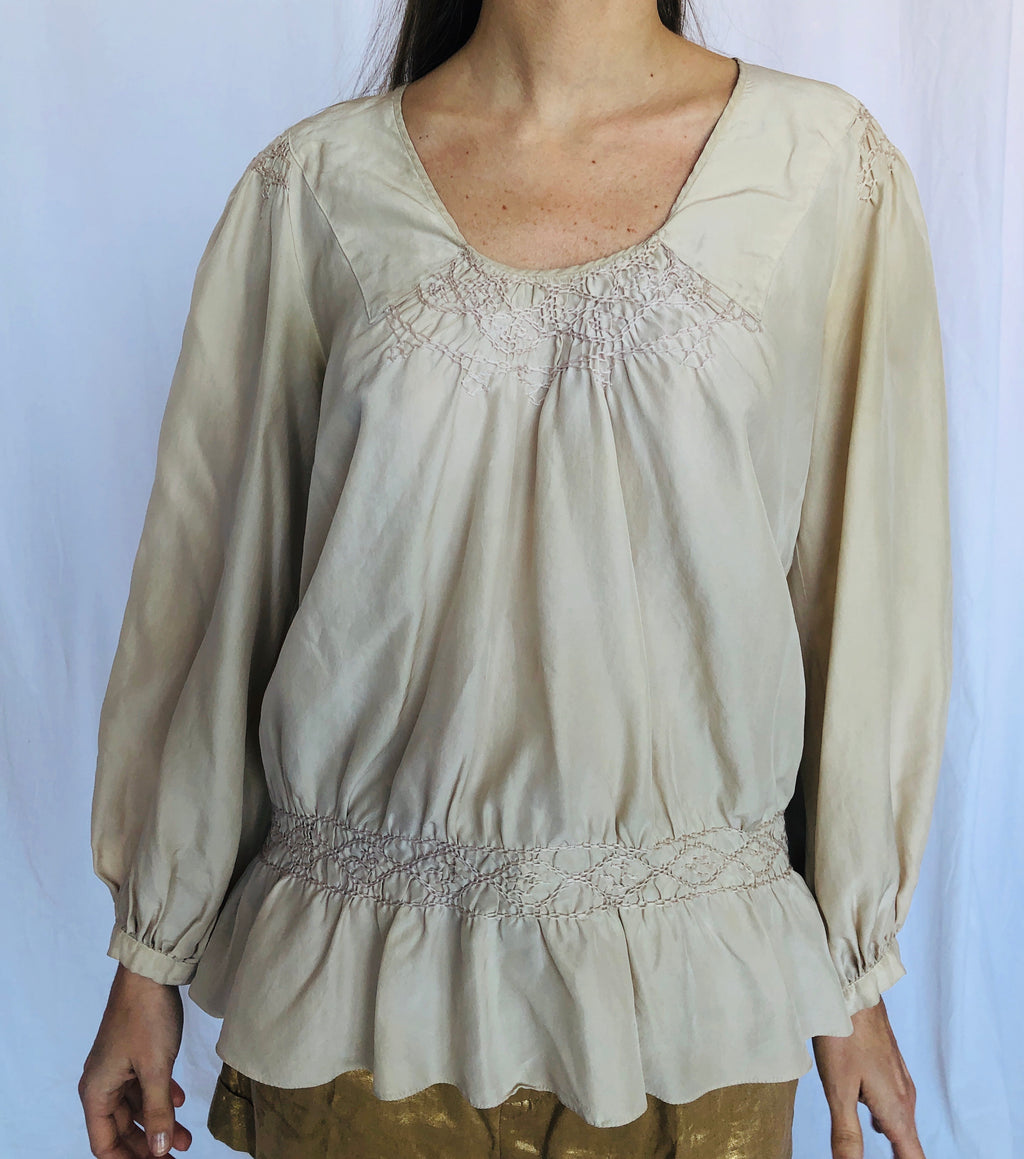 Chloe Beige Boho Romantic Flowy Embroidery Smocked Silk Blouse Made in France 36 S M