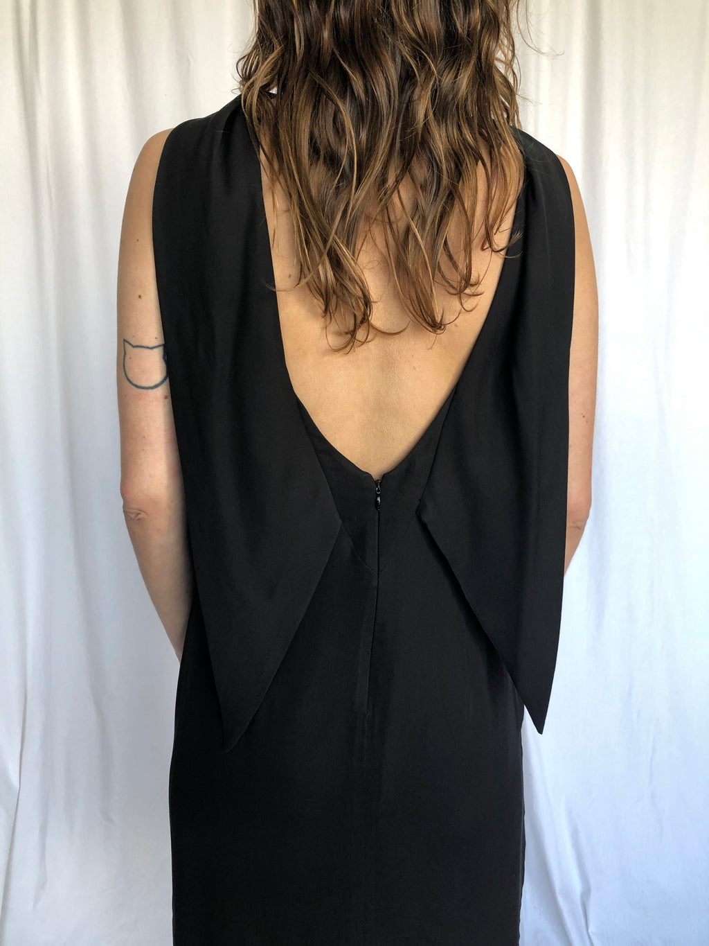 Armani Vintage Black Sexy Back Chic Elegant Dress 6 S
