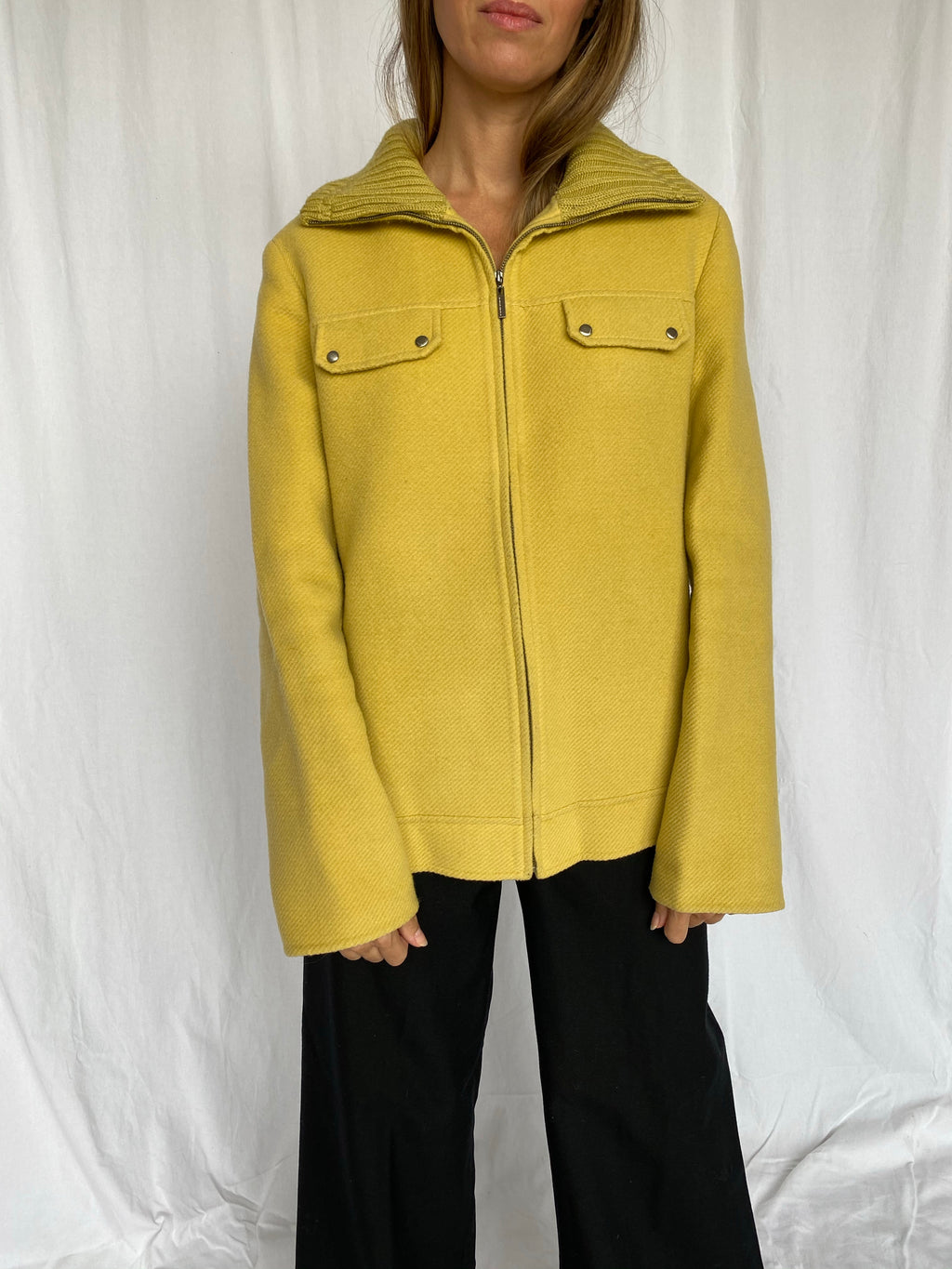 Pierre Cardin Mustard Yellow Wool Zipper Jacket M